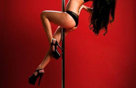 Woman in heels dancing on a pole